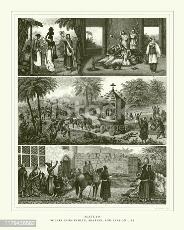 istock Engraved Antique, Varieties of Mankind Engraving Antique Illustration, Published 1851 1179436862