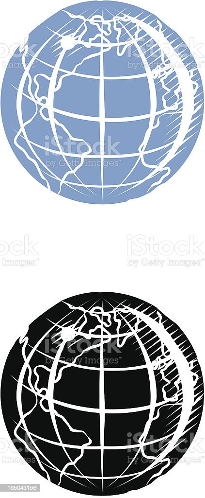 Engraved globe with land royalty-free stock vector art