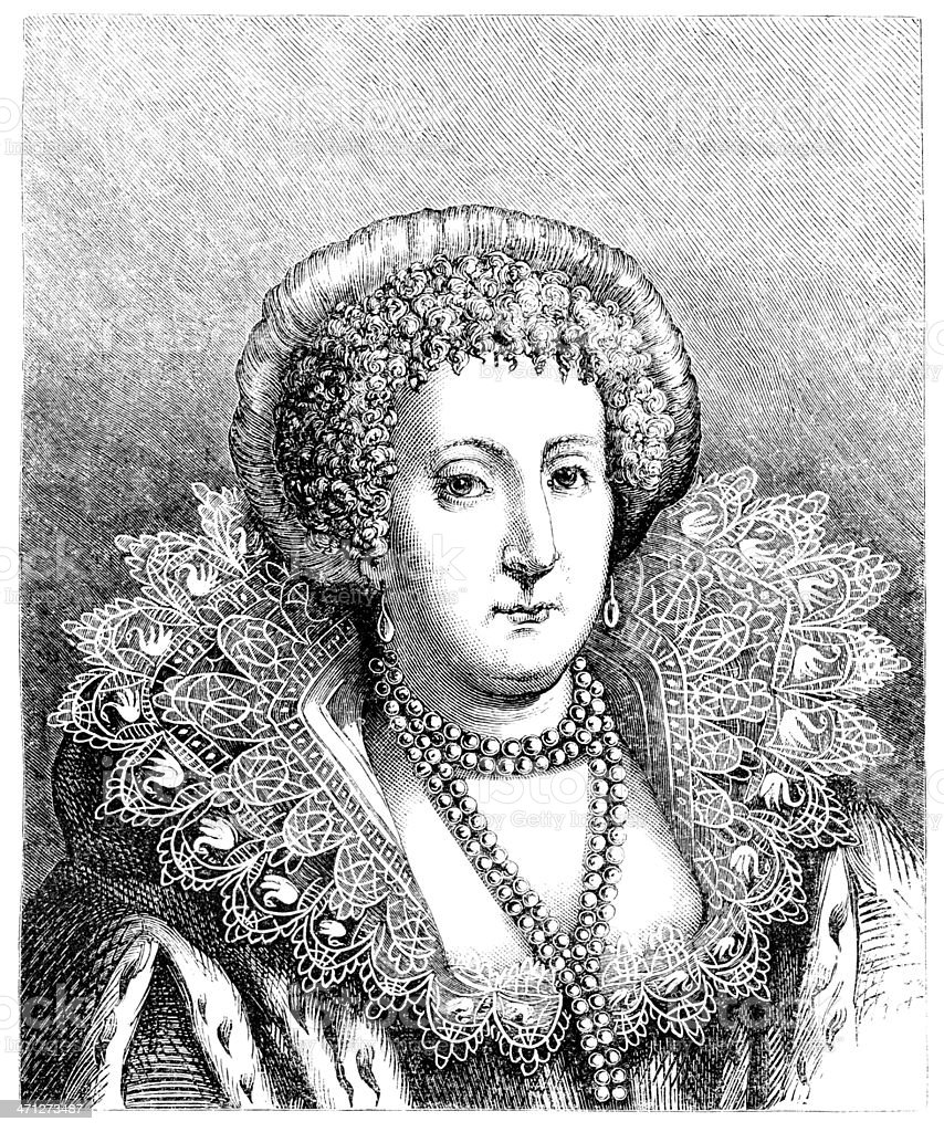 Engraved Portrait of Mary, Countess of Pembroke in 1621 royalty-free stock vector art