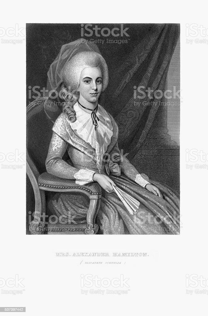 刻印の肖像ミセスアレクサンダーハミルトンエリザベスシュイラー1780 ...