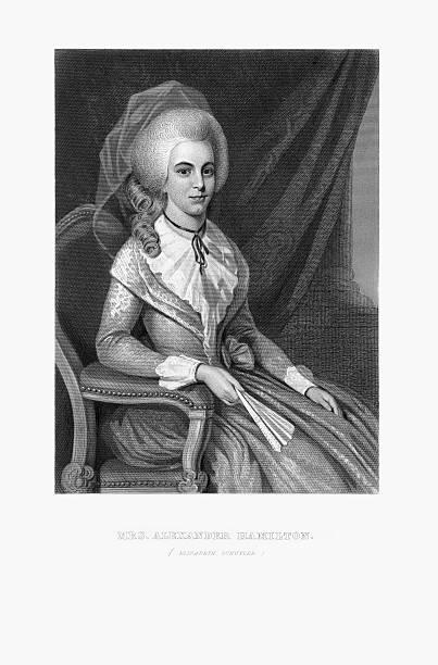 Engraved Portrait of Mrs. Alexander Hamilton, Elizabeth Schuyler, Circa 1780 vector art illustration