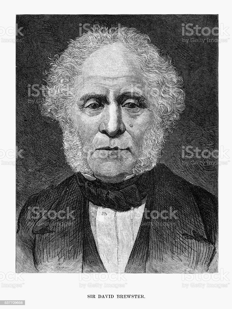 Engraved Portrait of Optical Scientist Sir David Brewster, Circa 1860 vector art illustration