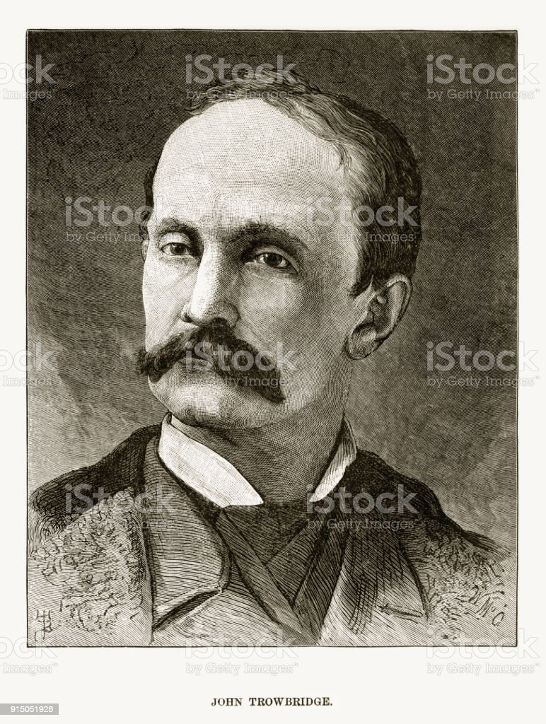 Engraved Portrait of Physics Professor John Trowbridge, Circa 1880 vector art illustration