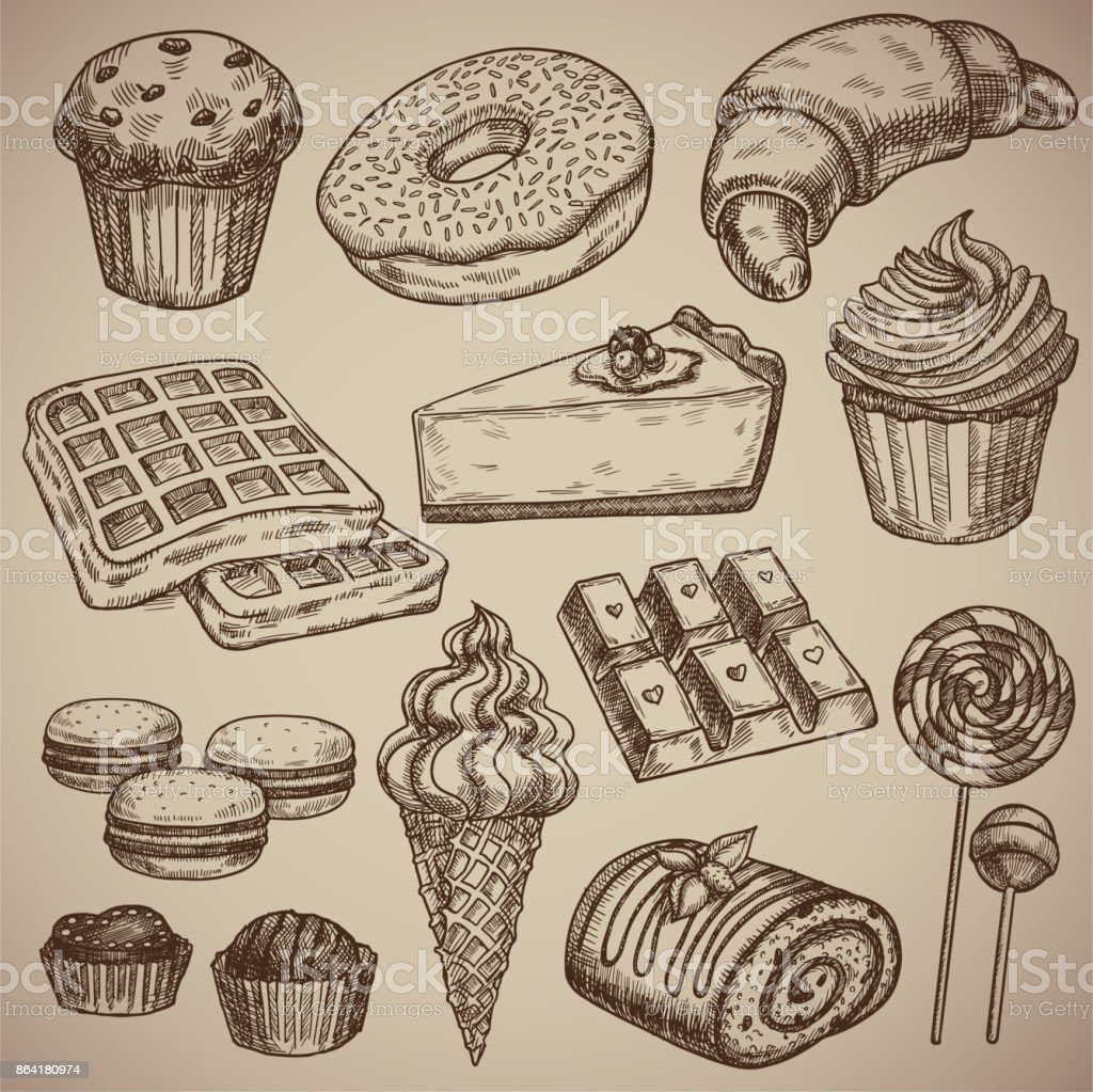 Engraving a sweet set: muffin, donut, croissant, waffles, cheesecake, capcake, macaroons, chocolate bar, two chocolate sweets, ice cream in a waffle cup, a chocolate roll and two candies on a stick. Engraving menu for the restaurant. Vector illustration. vector art illustration