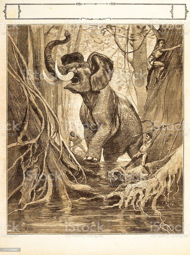 Engraving aboriginals hunting an elephant 1881 royalty-free stock vector art