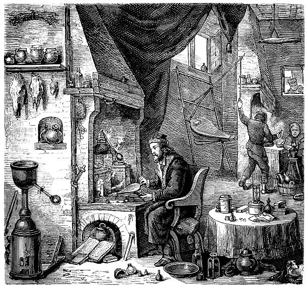 Engraving alchemist investigating in laboratory from 1870 vector art illustration