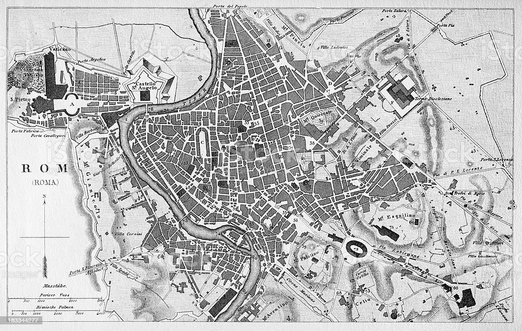 Engraving antique city map of Roma Italy from 1851 vector art illustration