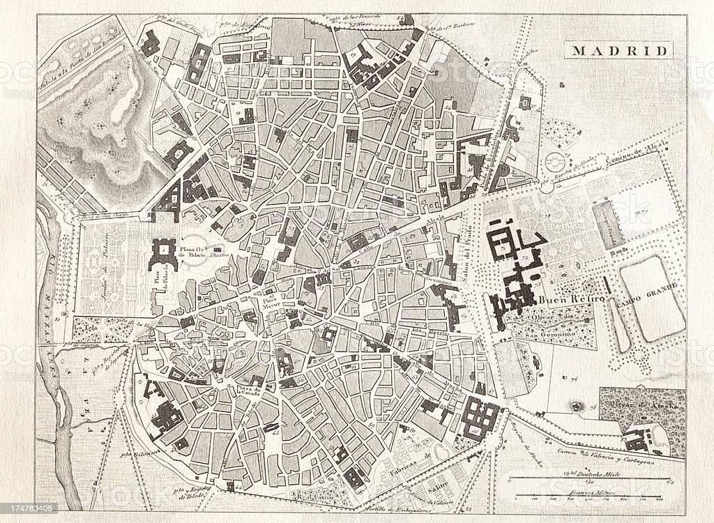 Engraving Antique Map Of Madrid Spain From 1851 Stock Vector Art ...