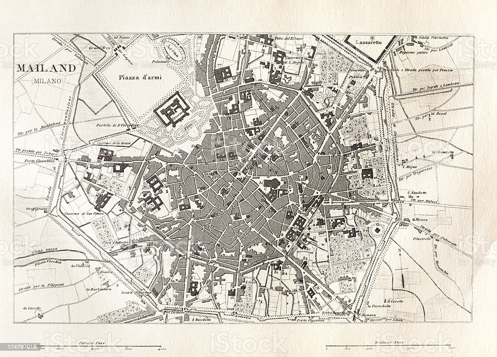Engraving antique map of Milano Italy from 1851 royalty-free engraving antique map of milano italy from 1851 stock vector art & more images of 18th century