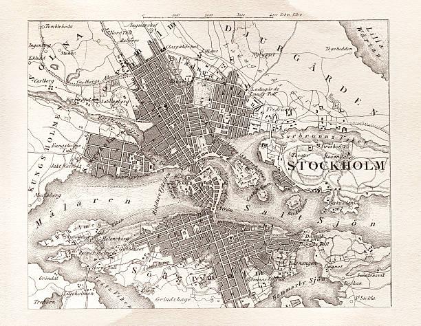 bildbanksillustrationer, clip art samt tecknat material och ikoner med engraving antique map of stockholm sweden from 1851 - stockholm