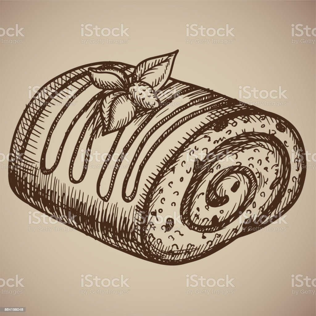 Engraving chocolate roll. Delicious homemade pastry in the sketch style. Vector illustration. EPS royalty-free engraving chocolate roll delicious homemade pastry in the sketch style vector illustration eps stock vector art & more images of archival