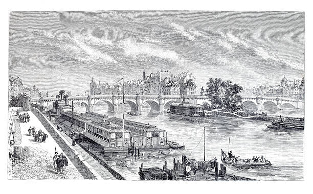Engraving city of Paris with Seine and Pont Neuf http://farm5.static.flickr.com/4110/4948325162_1323a54a89.jpg paris black and white stock illustrations