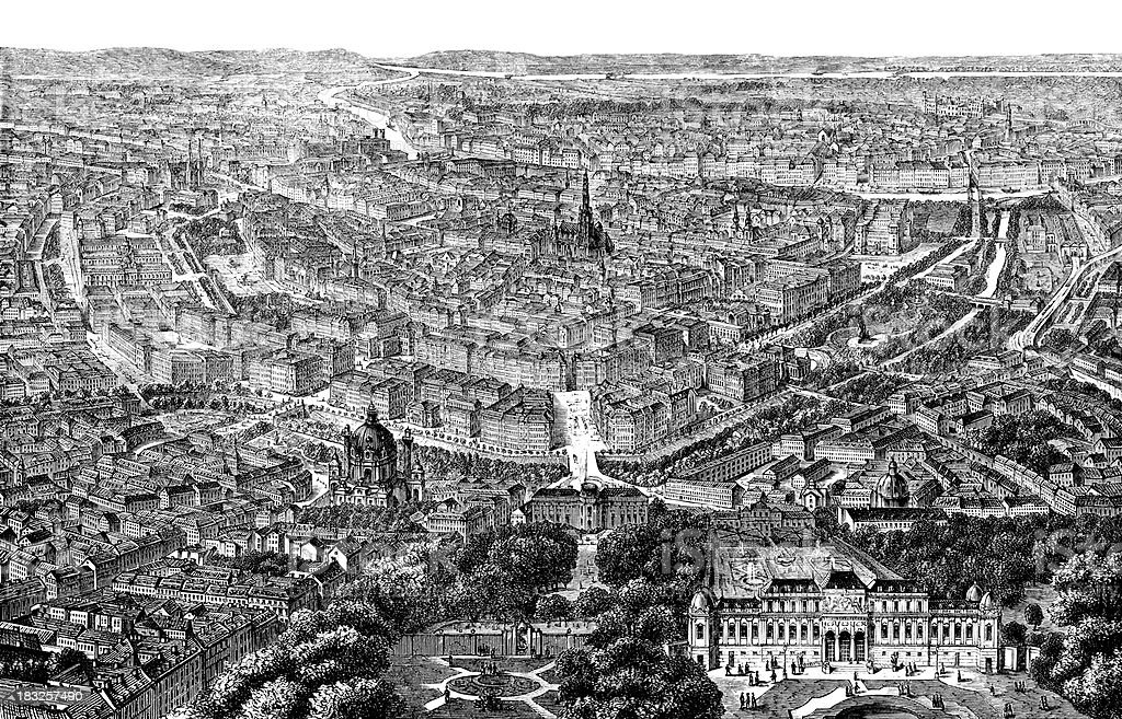 Engraving city of Vienna, Austria from 1870 royalty-free stock vector art