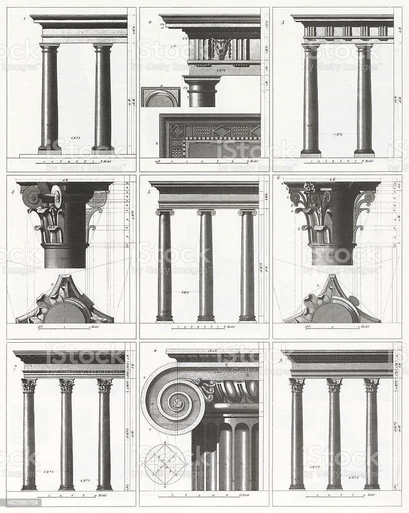 Engraving: Classical Columns vector art illustration
