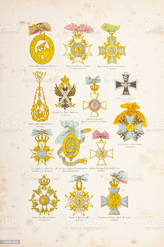 Engraving collection of german war order from 1877 royalty-free stock vector art