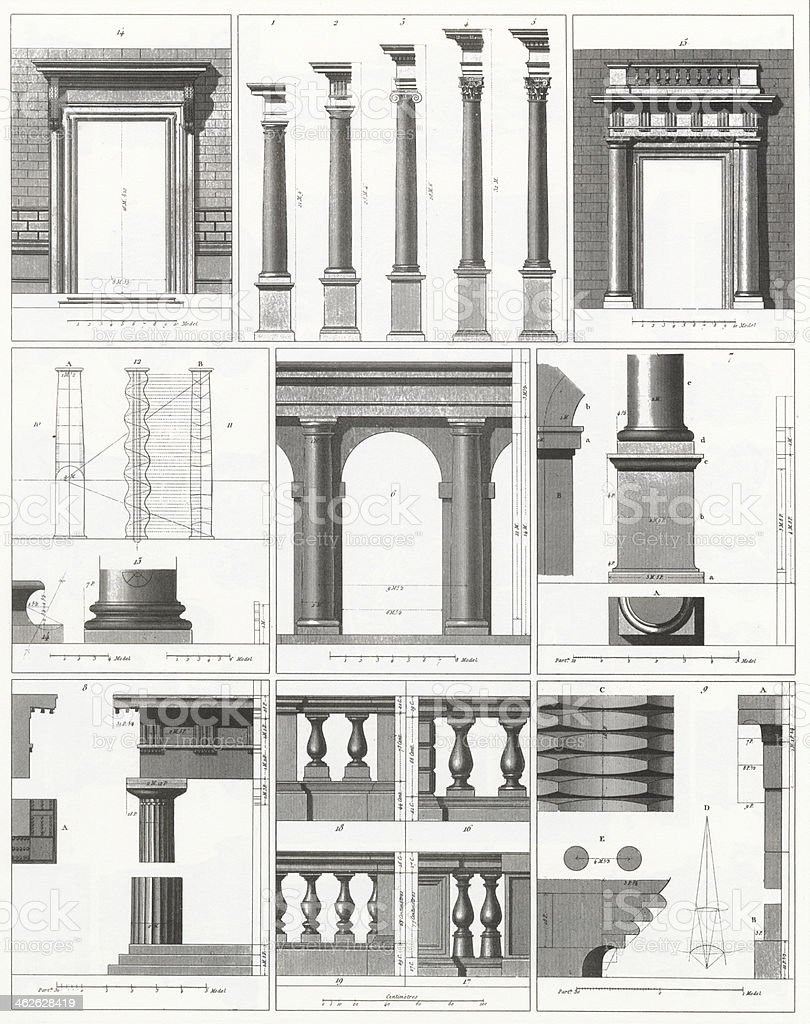Engraving: Columns, Doors and Balusters vector art illustration