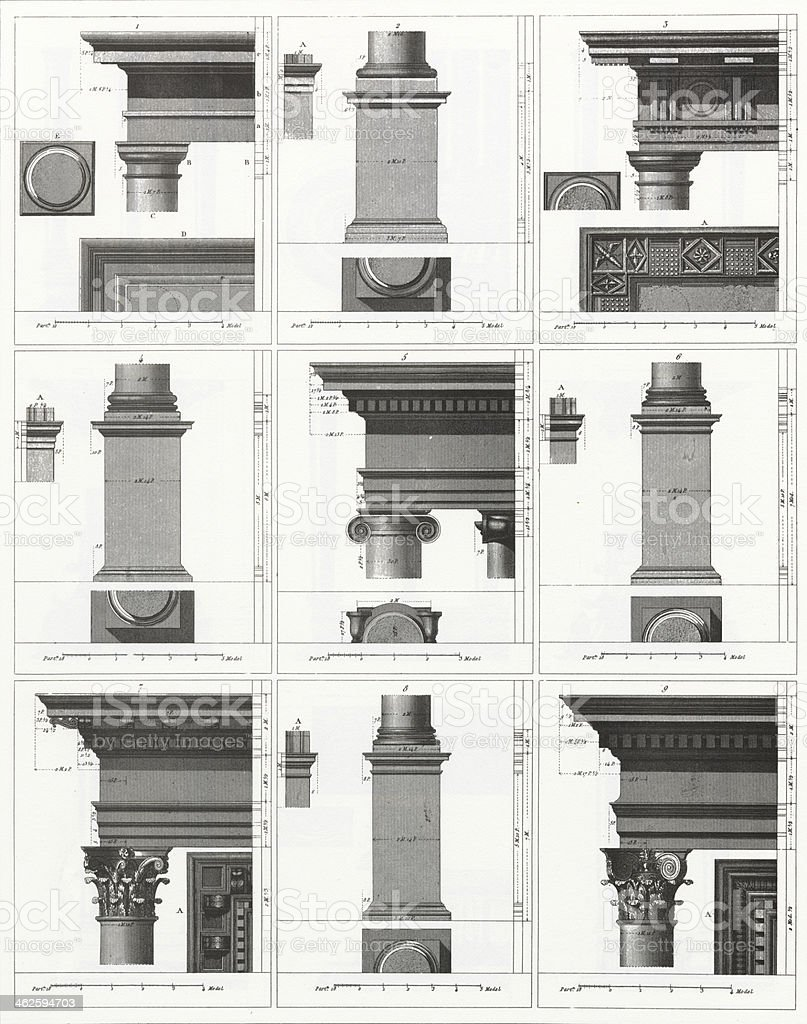 Engraving: Columns vector art illustration