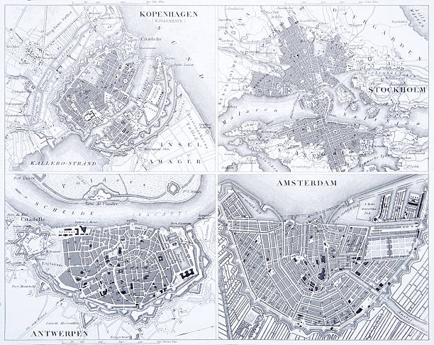 bildbanksillustrationer, clip art samt tecknat material och ikoner med engraving: copenhagen, stockholm, antwerp and amsterdam - stockholm