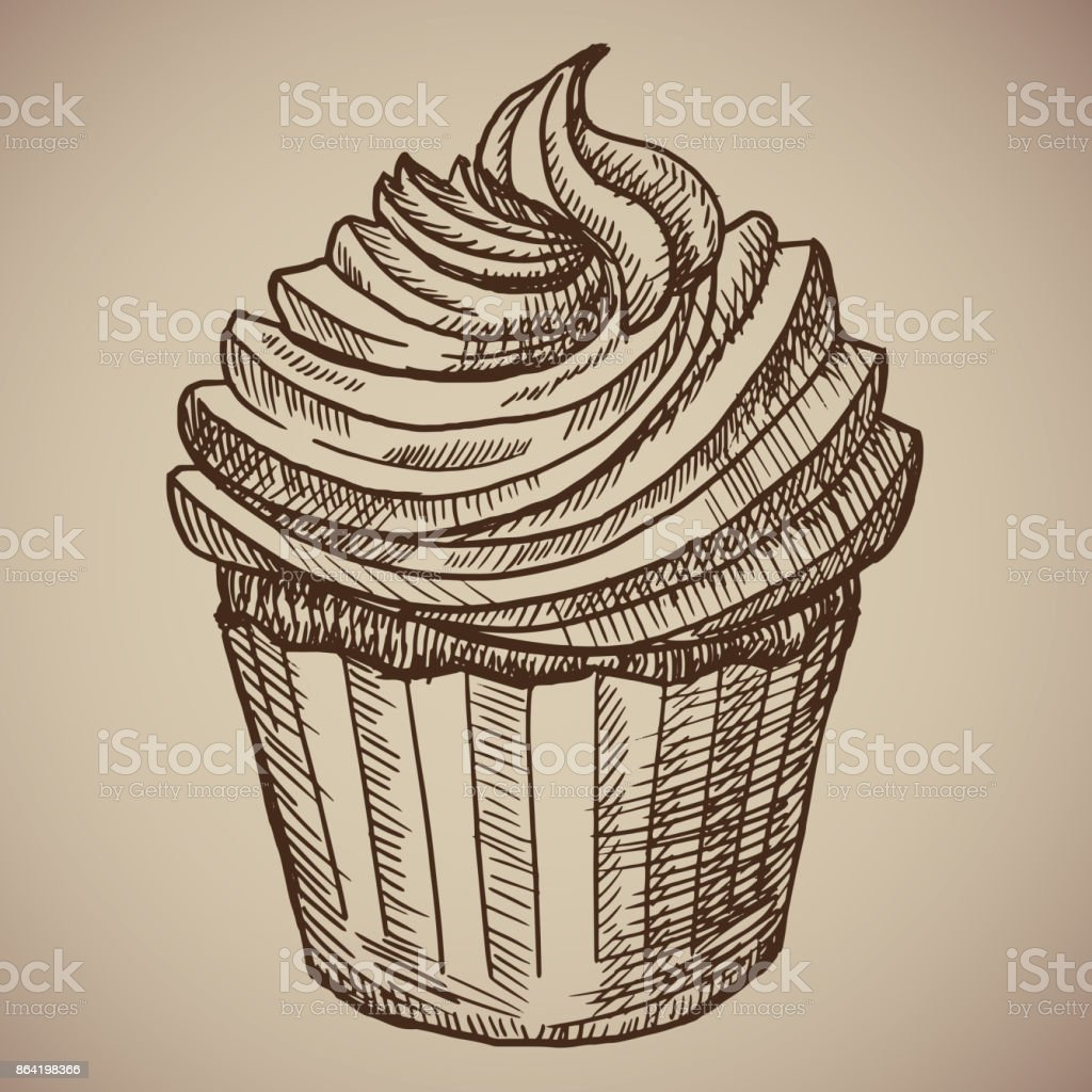 Engraving cupcake. Sweet chocolate cake for breakfast. Engraving menu for the restaurant. Vector illustration. vector art illustration