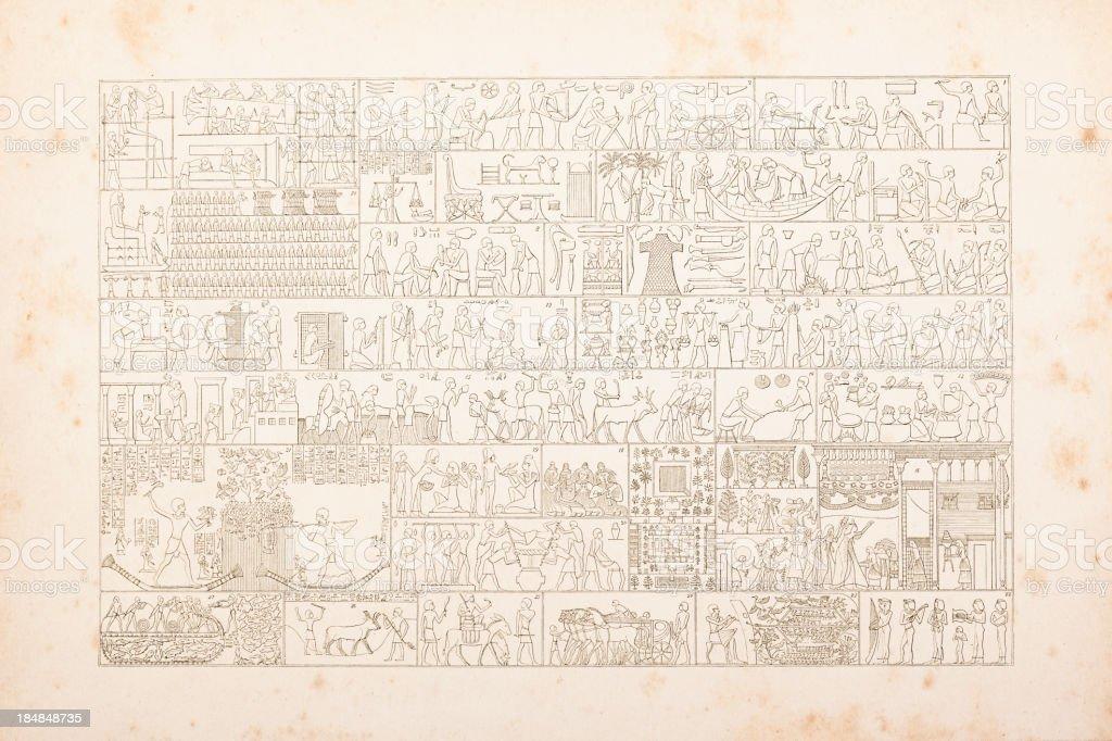 Engraving egyptian hieroglyphics of daily life vector art illustration