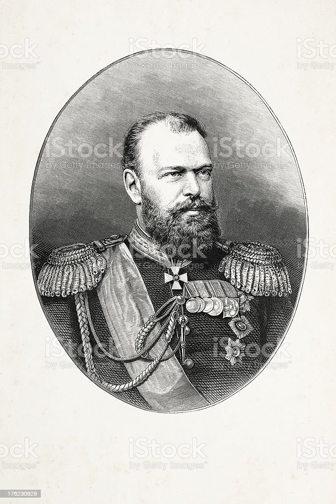 Engraving emperor Alexander III of Russia royalty-free engraving emperor alexander iii of russia stock vector art & more images of 19th century