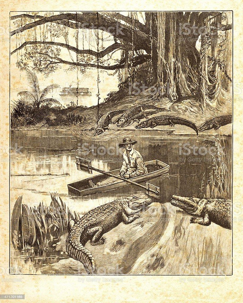 Engraving Explorer Mississippi crocodiles 1851 vector art illustration
