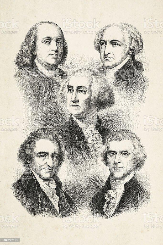 Engraving five presidents of USA 1850 vector art illustration
