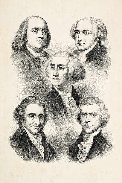 engraving five presidents of usa 1850 - abd başkanı stock illustrations