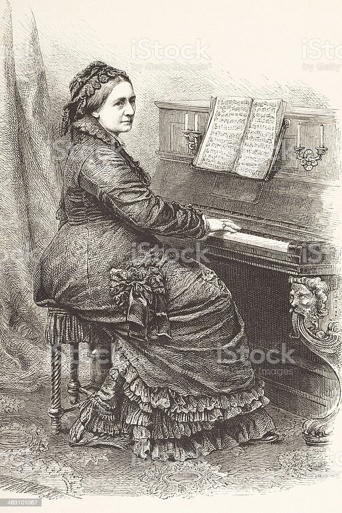 Engraving german pianist and composer Klara Schumann 1877 royalty-free stock vector art