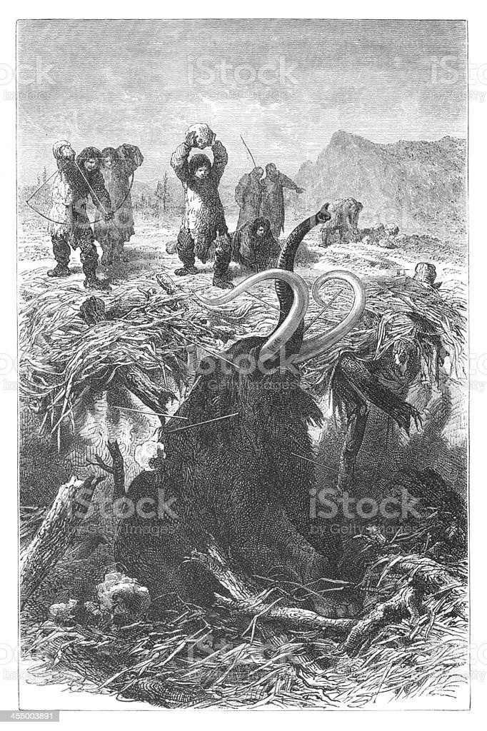 Engraving hunters killing mammoth at ice age vector art illustration