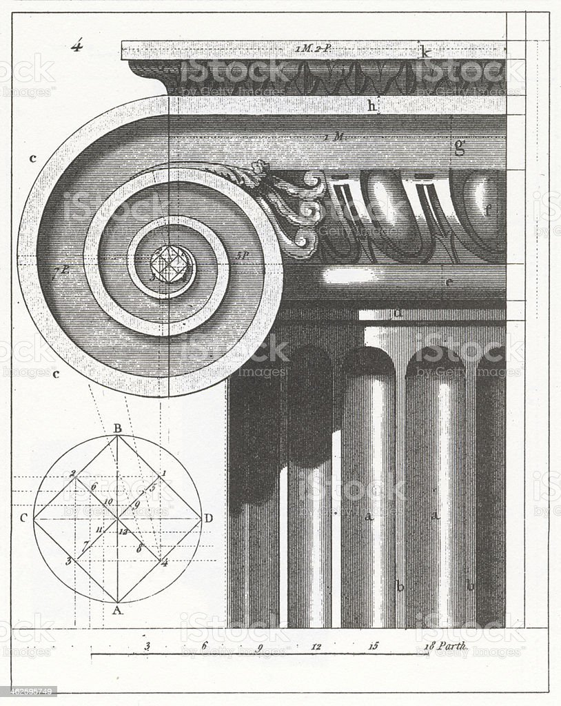 Engraving: Ionic Column vector art illustration