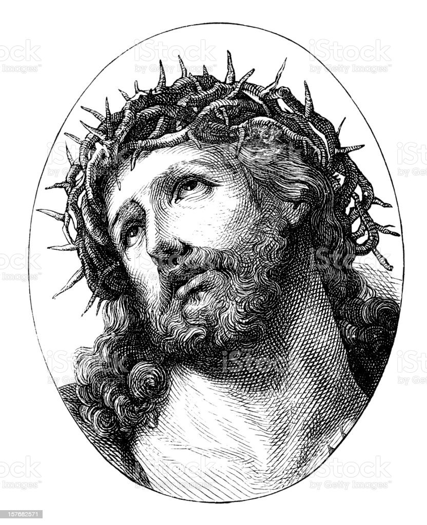 Engraving Jesus Christ with crown of thorns from 1870 royalty-free stock vector art
