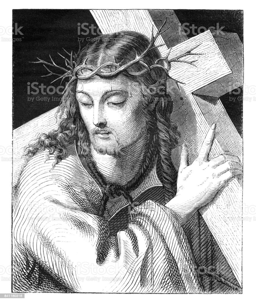 Engraving Jesuss carrying the cross 1842 vector art illustration