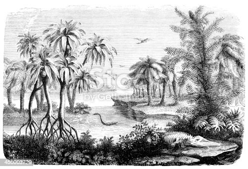Engraving landscape of Jurassic period with dinosaur