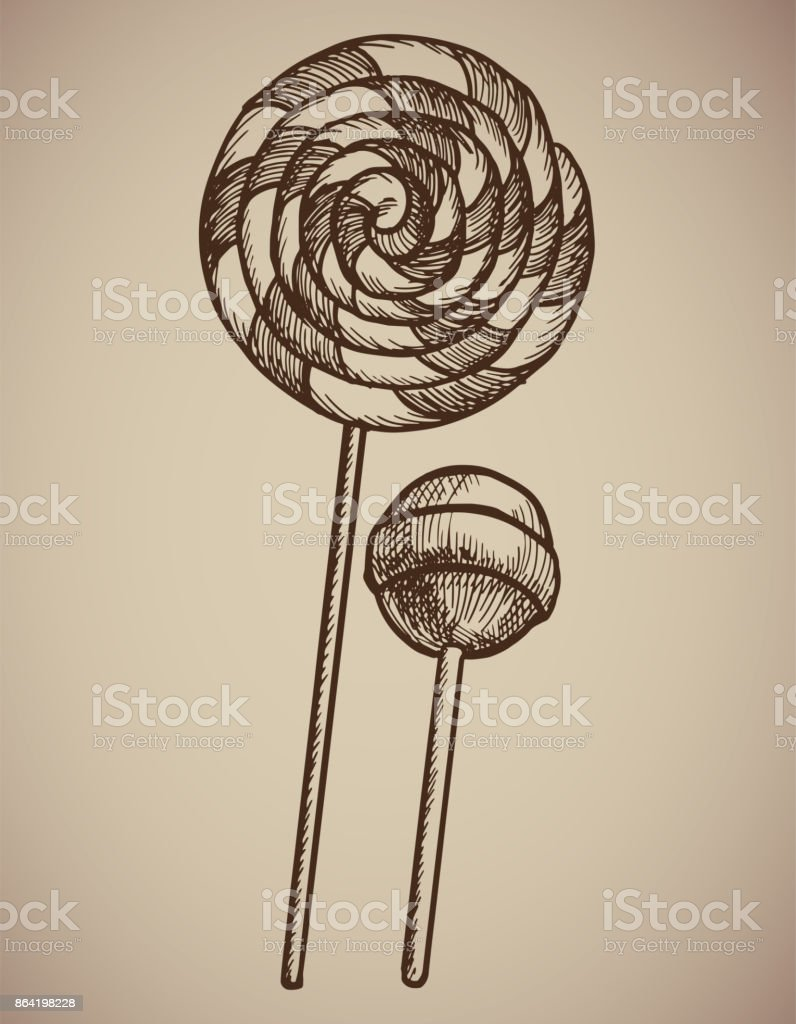 Engraving Lollipops. Engraving two candies. A huge spiral lollipop and a round candy on a stick. Engraving menu for the restaurant. Vector illustration. royalty-free engraving lollipops engraving two candies a huge spiral lollipop and a round candy on a stick engraving menu for the restaurant vector illustration stock vector art & more images of archival