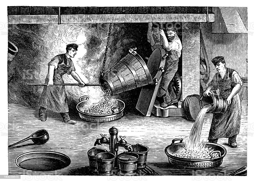 Grabado hombres monedas de fabricación - ilustración de arte vectorial