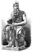 Steel engraving Moses of Michelangelo