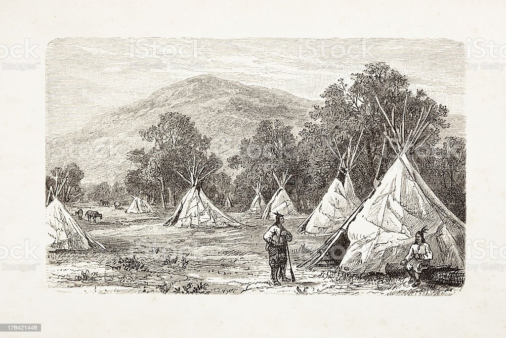 Engraving native american encampment from 1881 vector art illustration