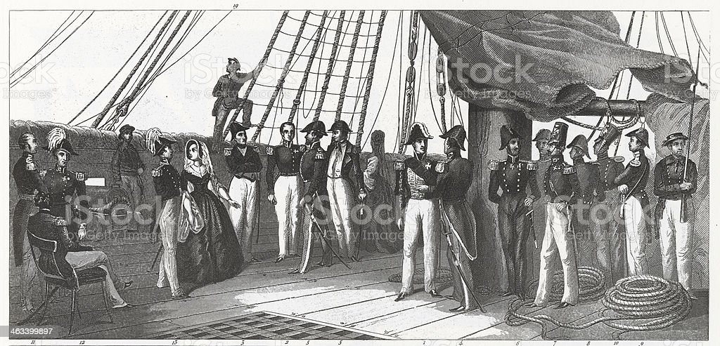 Engraving: Naval Officers vector art illustration