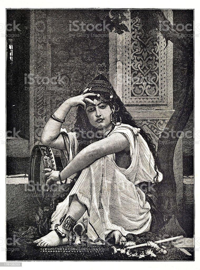 Engraving of arabien belly dancer royalty-free engraving of arabien belly dancer stock vector art & more images of 1880