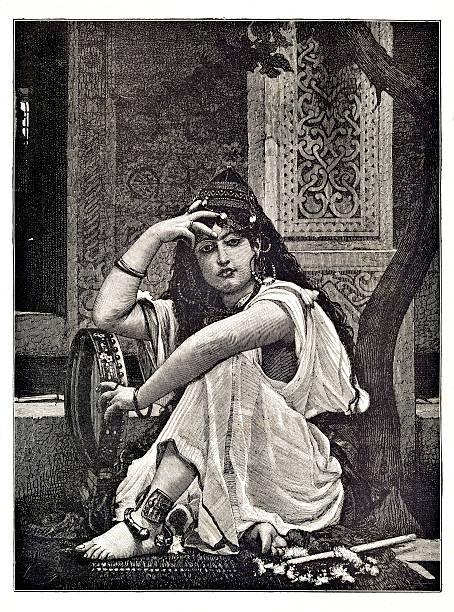 engraving of arabien belly dancer - 阿爾及利亞 幅插畫檔、美工圖案、卡通及圖標