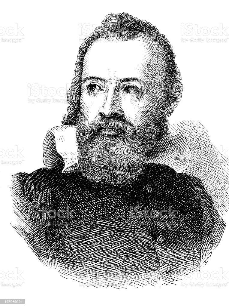 Gravure de Astronome Galilée de 1870 - Illustration vectorielle