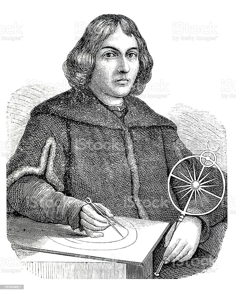 Engraving of astronomer Nicolaus Copernicus from 1870 royalty-free stock vector art