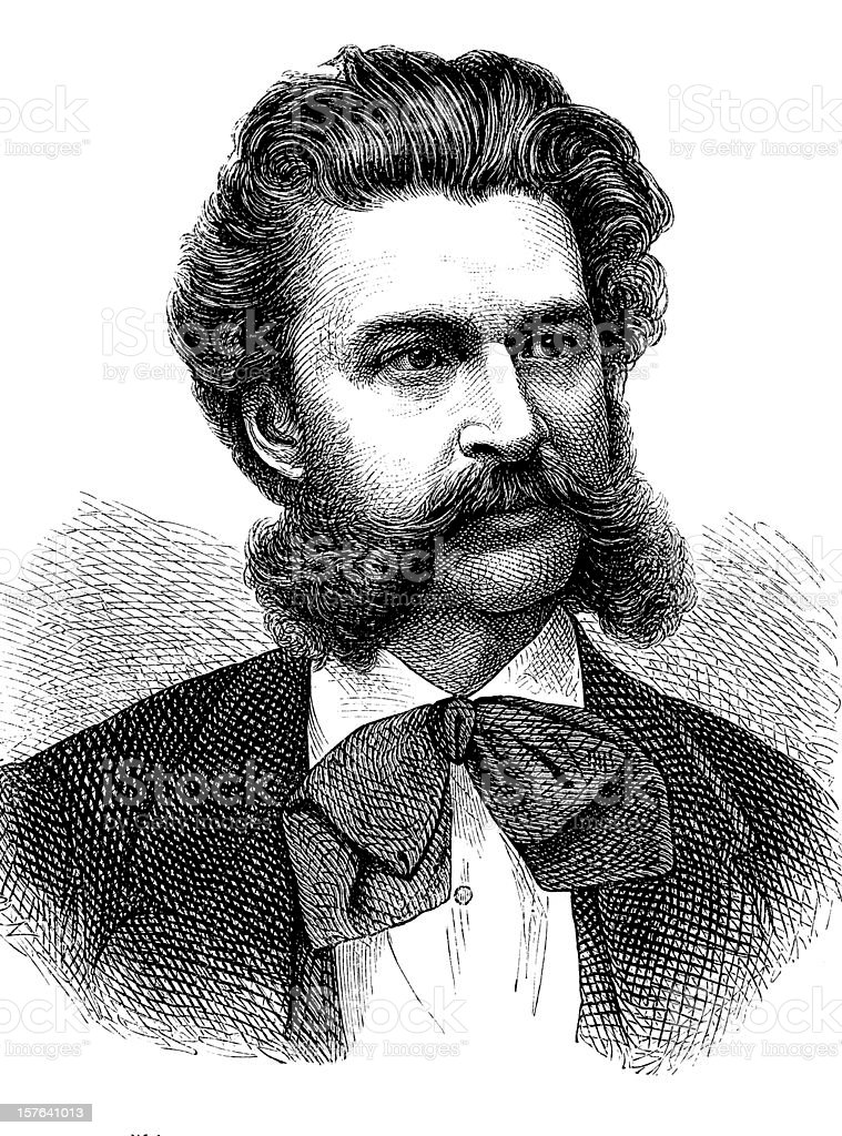Engraving of austrian composer Johann Strauss from 1870 royalty-free stock vector art