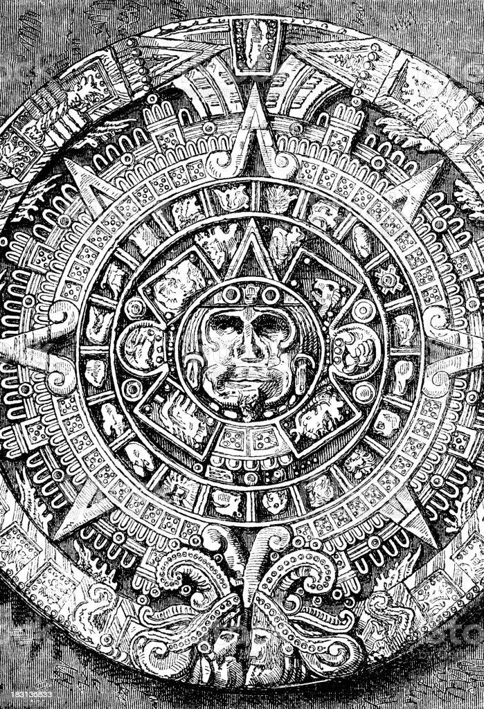 Calendario aztec grabado de piedra en 1870 - ilustración de arte vectorial