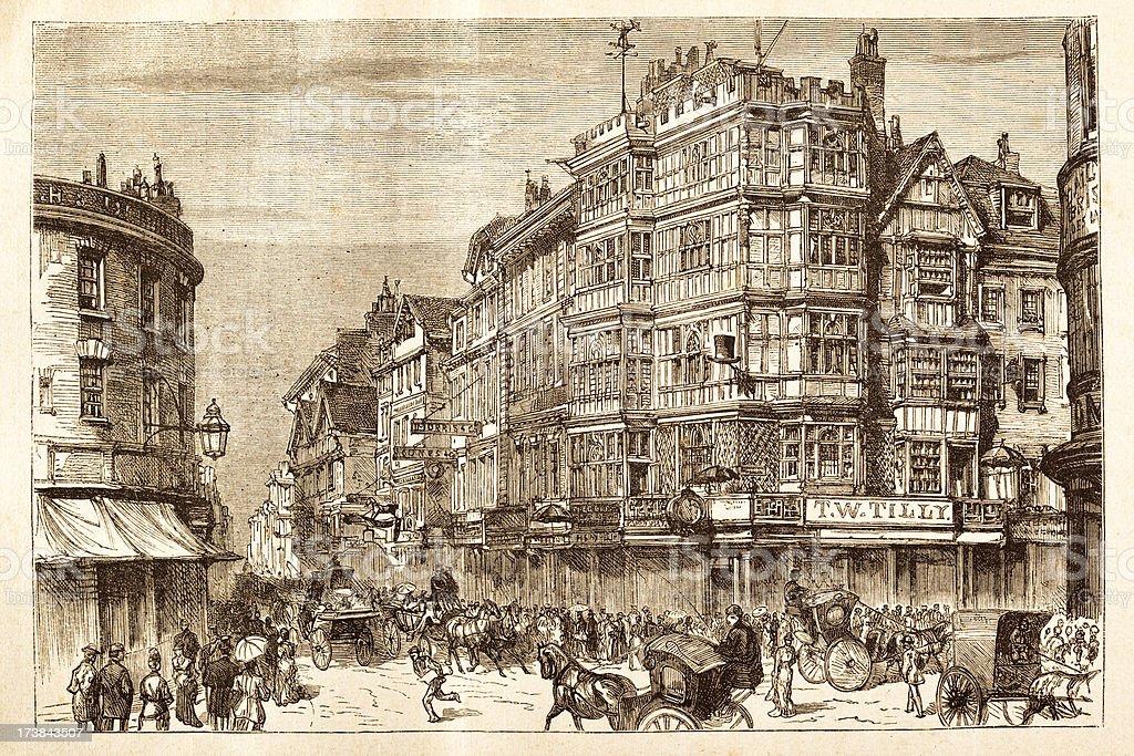 Engraving of Bristol, England 1881 vector art illustration