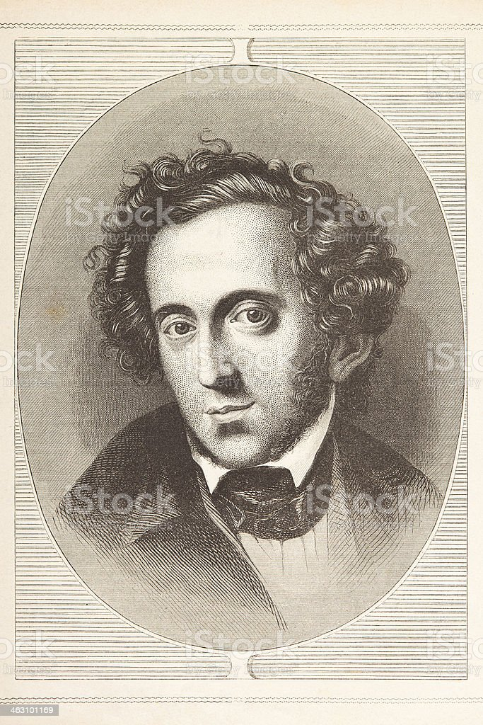Engraving of composer Felix Mendelssohn Bartholdy from 1870 royalty-free stock vector art