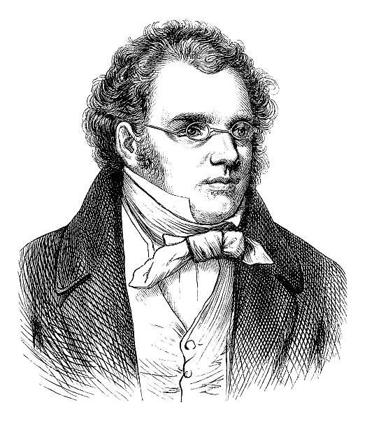 Engraving of composer Franz Schubert from 1870  1880 stock illustrations