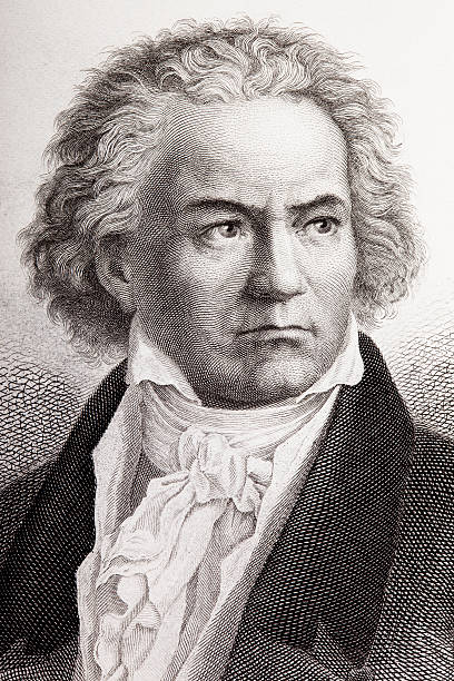 Engraving of composer Ludwig van Beethoven from 1882  1880 stock illustrations