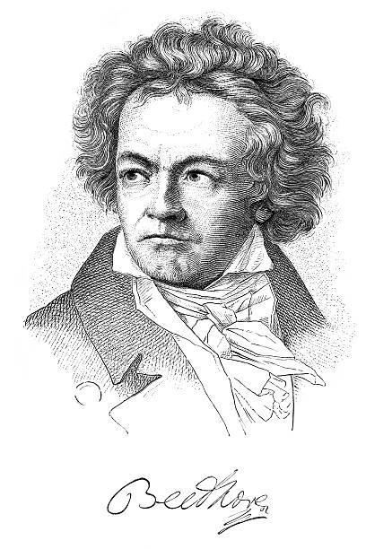Engraving of composer Ludwig van Beethoven from 1882 /file_thumbview_approve.php?size=1&id=14055207 1880 stock illustrations